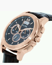 Bulova Men's 97B136 Rose Gold Plated Chronograph Brown Leather Watch £299 NEW