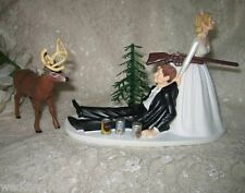 Wedding Reception Party ~Drunk Groom~ Beer Cans Deer Hunter Hunting Cake Topper