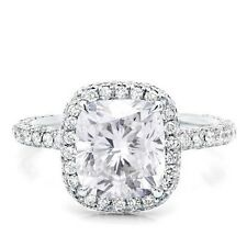 GIA F, VVS1 2.00 Ct. Halo Micro Pave Cushion Cut Diamond Engagement Ring 14k WG