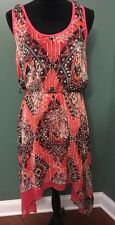 Bisou Bisou Michele Bohbot Tribal Handkerchief Hi Lo Hem Dress size 12 Large