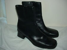 NATURALIZER  Black Leather Heeled Ankle Boots Side Zip Women sz 10 N #830N38 EUC