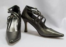 Fresco by Myers VANDA Pewter Grey Heels Pumps NIB Sz 8 W Criss Cross Straps