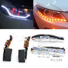 2× Crystal Style Dual Colors Switchback LED Strip DRL Run Turn Signal Light