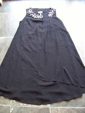BNWT Ladies Black Polyester Layered Flared Beaded Sleeveless Dress Size 10