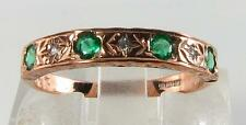 CLASSIC 9CT 9K ROSE GOLD COLOMBIAN EMERALD & DIAMOND ETERNITY RING FREE RESIZE