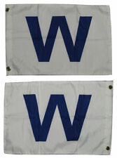 """12x18 Chicago Cubs """" W """" Win 2 Faced 2-ply Wind Resistant Flag 12x18 Inch"""
