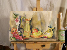 Still Life 'FRUITS' Watercolor Painting Listed Artist California June Todd