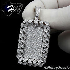 MEN 925 STERLING SILVER LAB DIAMOND ICED BLING DOGTAG HIPHOP CHARM PENDANT*SP145