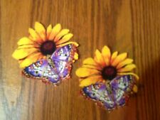 Pretty Butterfly On Flower - 2 - Iron-On Appliques (D)