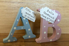 Personalised gift freestanding wooden letter new baby girl boy Christening