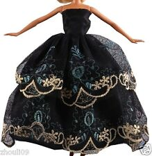 Handwork soft Princess Party Dress/Evening Clothes/Gown For Barbie Doll  1082