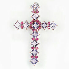 Silver 925 Rose Gold Large Genuine Natural Amethyst & Rhodolite Cross Pendant