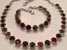 Multi Color Fall 8MM SWAROVSKI Crystal Elements Necklace Bracelet Set New