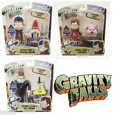 Set of 3: Gravity Falls 2-packs Dipper Mabel Grunkle Gnome Waddles Bill Cipher