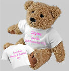 Baptism Christening Naming Ceremony Personalised Teddy Bear Option of Gift Bag