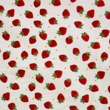Ivory 100% Cotton Red Strawberries Polka Dot Fabric