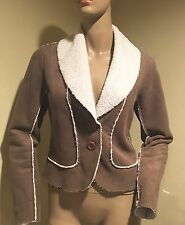 Velvet Brown/Beige Faux Shearling Jacket, P