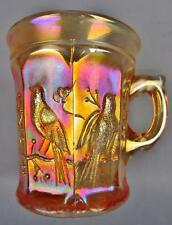 CARNIVAL GLASS - NORTHWOOD LUSCIOUS PASTEL Marigold SINGING BIRDS Mug