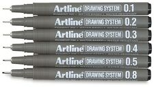 Artline 230 Technical Drawing Pens Fineliners Black Pigment Ink - Wallet 6