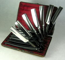 "Vintage J.A. Henckels Seven-Day 6/8"" Straight Razor Set Covered Tangs 7"