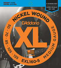 D'ADDARIO EXL160-5 NICKEL BASS STRINGS, MEDIUM GAUGE 5 STRING SET, 50-135