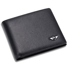 MINI Cooper Bifold Wallet Black Genuine Leather with 6 Credit Card Holder ID Men