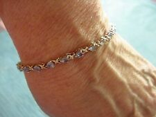Sparkling Genuine Peardrop Shaped TANZANITE 925 Sterling Silver Tennis Bracelet