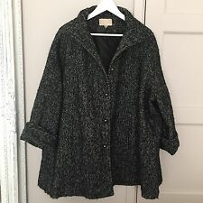 ZARA H&M WOMAN CHECK CAPE PONCHO COAT JACKET KATE S 8 10 12 PLAID WOVEN BLACK
