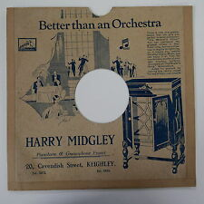 """78rpm 10"""" card gramophone record sleeve / cover HARRY MIDGLEY , KEIGHLEY"""