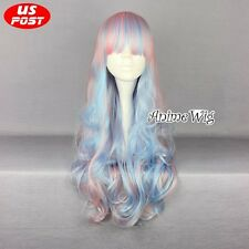 Lolita Long Curly Light Pink Mixed Light Blue Hair Women Fancy Party Cosplay Wig