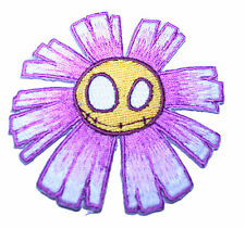 A1310 Aufnäher Patch Rockabilly Old School Tattoo Emo Blume Dead Smiley lila