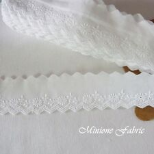 14 Yds Embroidered Scalloped Cotton Fabric Eyelet Lace Trim 3.8cm White