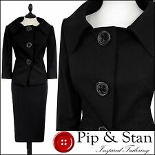 NEXT UK10/12 US6/8 BLACK PENCIL SKIRT SUIT 50S INSPIRED WOMENS LADIES WOMAN SIZE