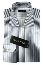 Men's VALENTINO Navy Striped Extrafine Cotton Dress Shirt 15.75 40 M NWT $245!