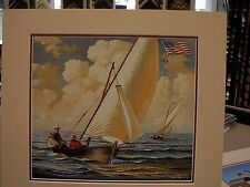 CHARLES WYSOCKI MATTED IMAGE SAILBOATS YOUNG MEN SAILING IN A WOOD BOAT