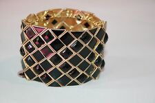 Bar III gold tone black rhinestone stretch cuff bracelet