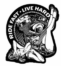 Ride Fast Live Hard Pin Up Girl Motorcycle Bike Uniform Patch Biker