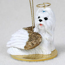 Shih Tzu Dog Figurine Angel Statue Hand Painted White