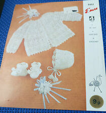 Baby Matinee Set vintage crochet pattern 4ply fingering yarn