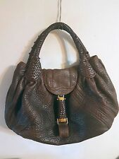 Fendi  Spy Bag Purse Tote Handbag Satchel Shoulder Tortoise Nappa Leather Large