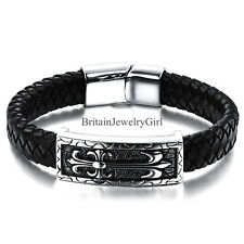 Mens Lily Flower Pattern Black Leather Braided Stainless Steel Surfer Bracelet