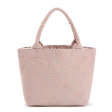 Japanese Princess Style Pink Blue Knitting Bag Cotton Hand Tote Shopping Bag