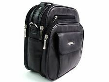 Unisex Messenger Man Bag Shoulder Bag In Genuine Quality Black Leather Satchel