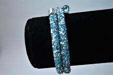 NEW SILVER/TEAL DOUBLE CRYSTALDUST Made With SWAROVSKI CRYSTALS BANGLE CUFF XMAS