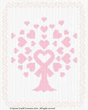 """AWARENESS TREE - BREAST CANCER Counted Cross Stitch Chart  8"""" x 10"""""""