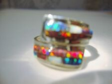 Size 10 Black Red FIRE OPAL LADIES Wrap Band Ring! Sterling Silver 925 Kingsman