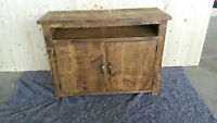 NEW SOLID WOOD RUSTIC PLANK WOODEN TV UNIT CUPBOARD MADE TO MEASURE
