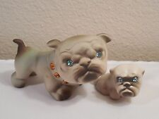 Vintage Pair California Pottery USA Mother & Puppy Bulldog Figurines ~ Blue Eyes