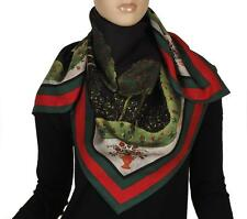 NEW GUCCI CURRENT FOREST GREEN RED GREEN WEB TWILL SILK SHAWL WRAP SCARF