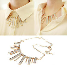 Fashion Lady Rectangle Shaped Alloy Rhinestone Gold Frosted Bib Choker Necklace